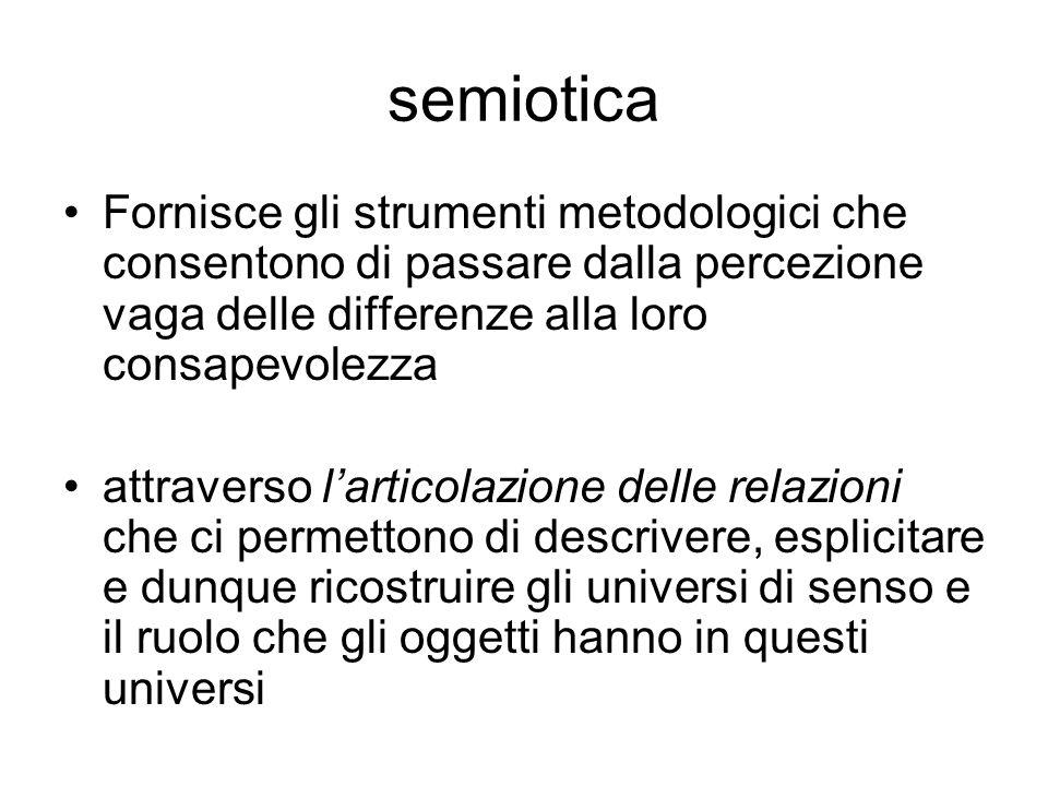 semiotica Fornisce gli strumenti metodologici che consentono di passare dalla percezione vaga delle differenze alla loro consapevolezza.