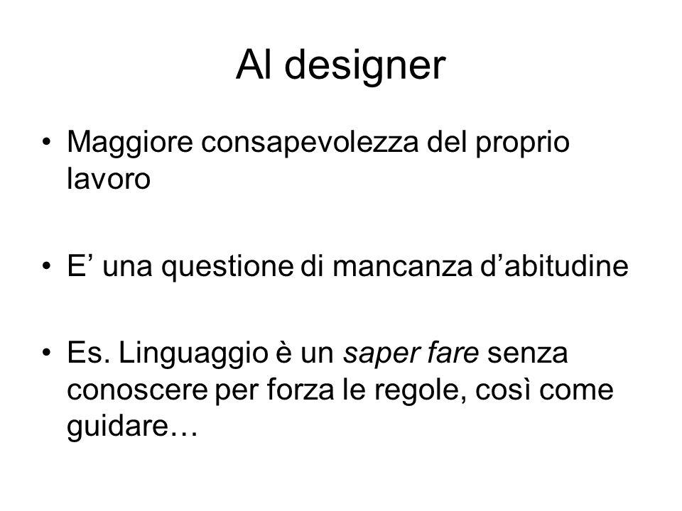 Al designer Maggiore consapevolezza del proprio lavoro