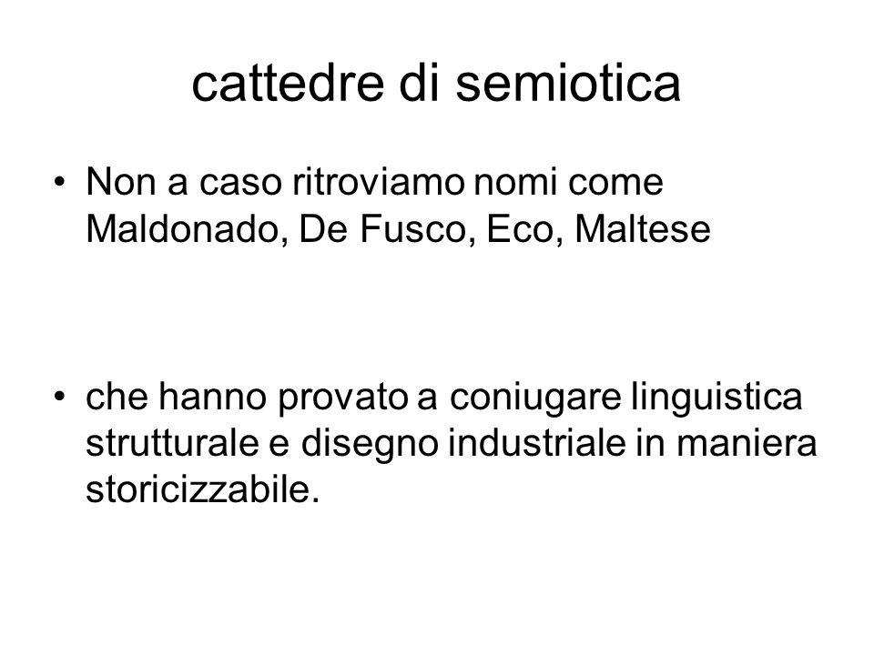 cattedre di semioticaNon a caso ritroviamo nomi come Maldonado, De Fusco, Eco, Maltese.