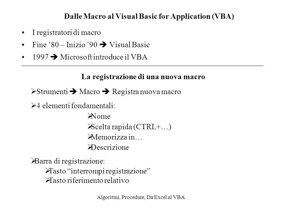 Dalle Macro al Visual Basic for Application (VBA)