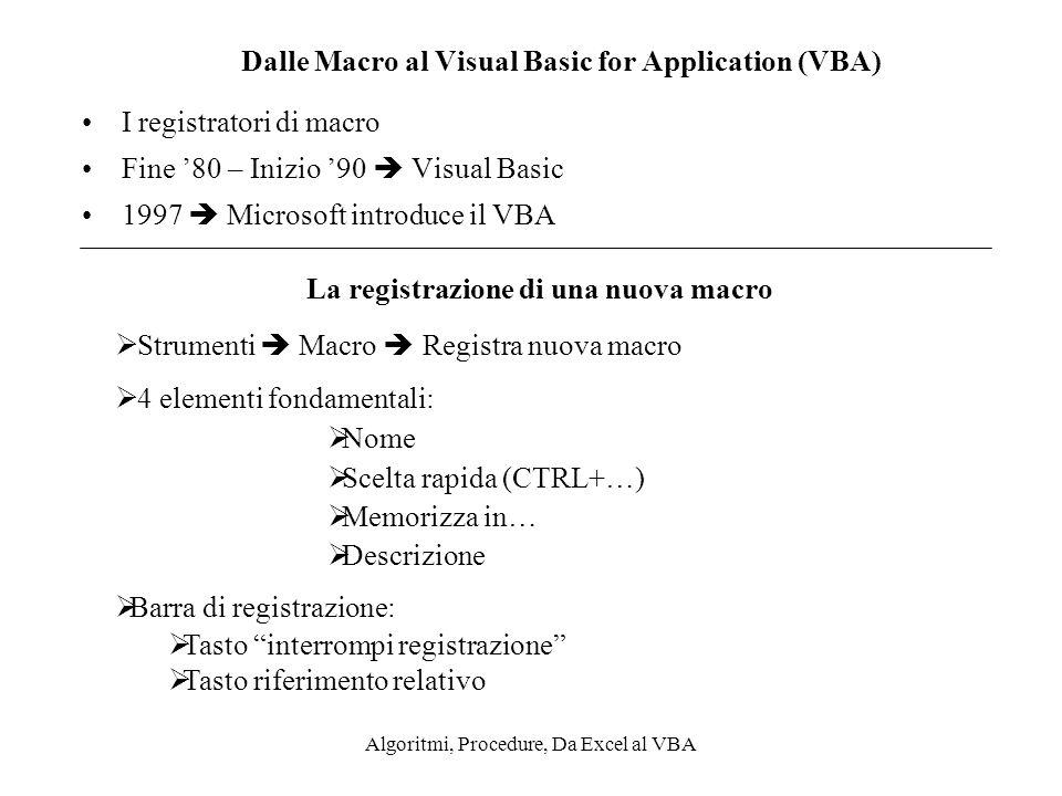 Dalle Macro al Visual Basic for Application (VBA)