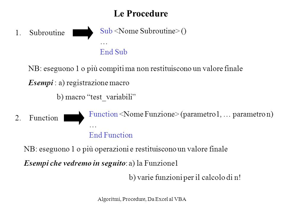 Algoritmi, Procedure, Da Excel al VBA