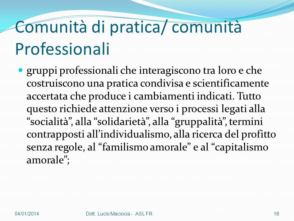 Comunità di pratica/ comunità Professionali