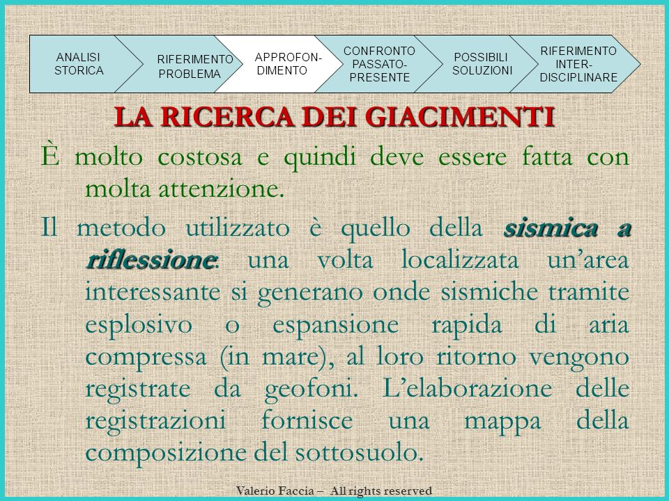 LA RICERCA DEI GIACIMENTI Valerio Faccia – All rights reserved