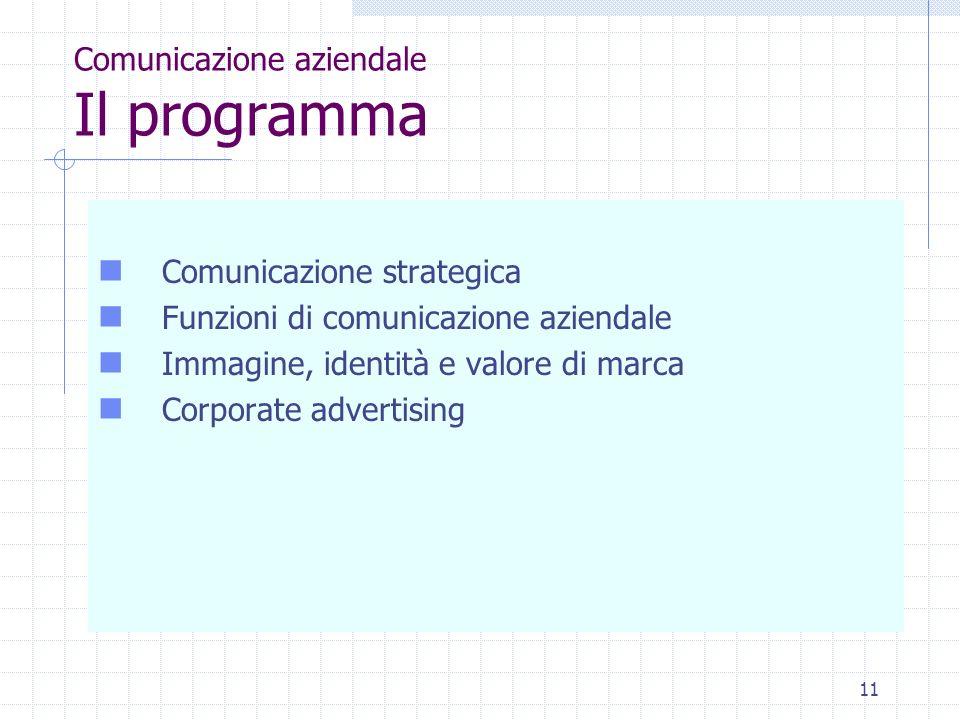 Comunicazione aziendale Il programma