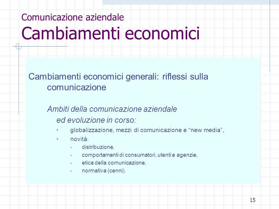 Comunicazione aziendale Cambiamenti economici