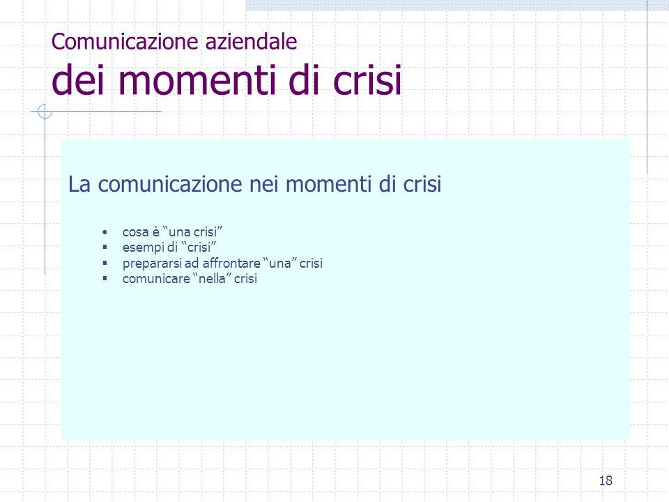 Comunicazione aziendale dei momenti di crisi