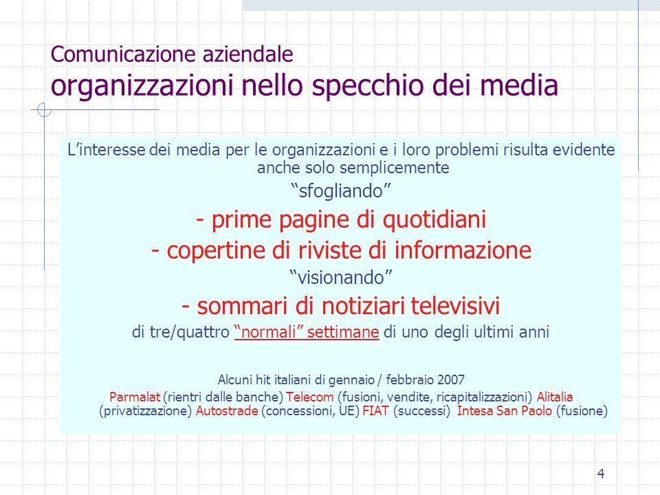 Comunicazione aziendale organizzazioni nello specchio dei media