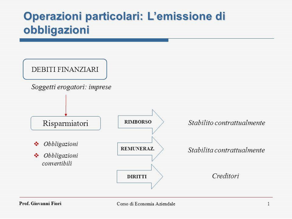Operazioni particolari: L'emissione di obbligazioni