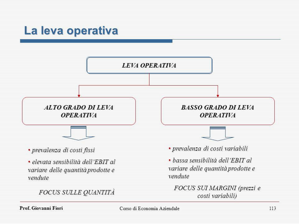 ALTO GRADO DI LEVA OPERATIVA BASSO GRADO DI LEVA OPERATIVA