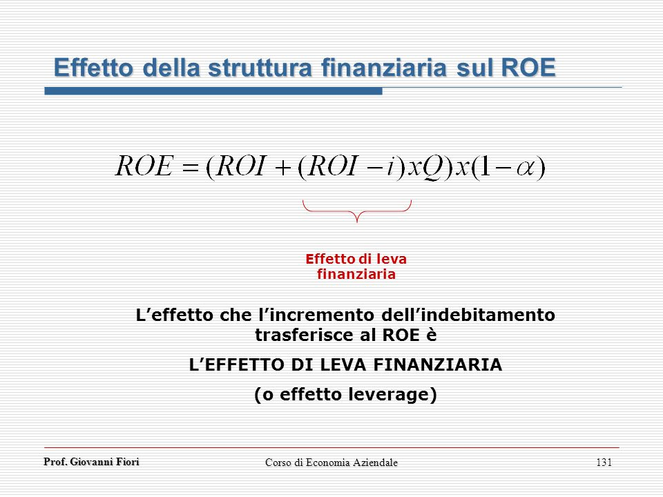 Effetto della struttura finanziaria sul ROE