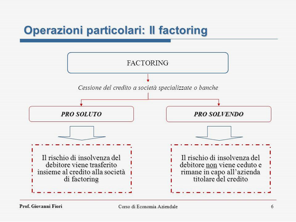Operazioni particolari: Il factoring