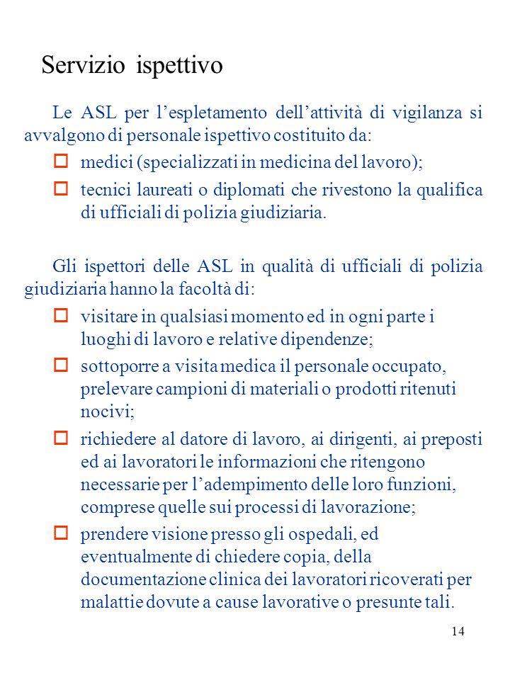 Servizio ispettivo  medici (specializzati in medicina del lavoro);