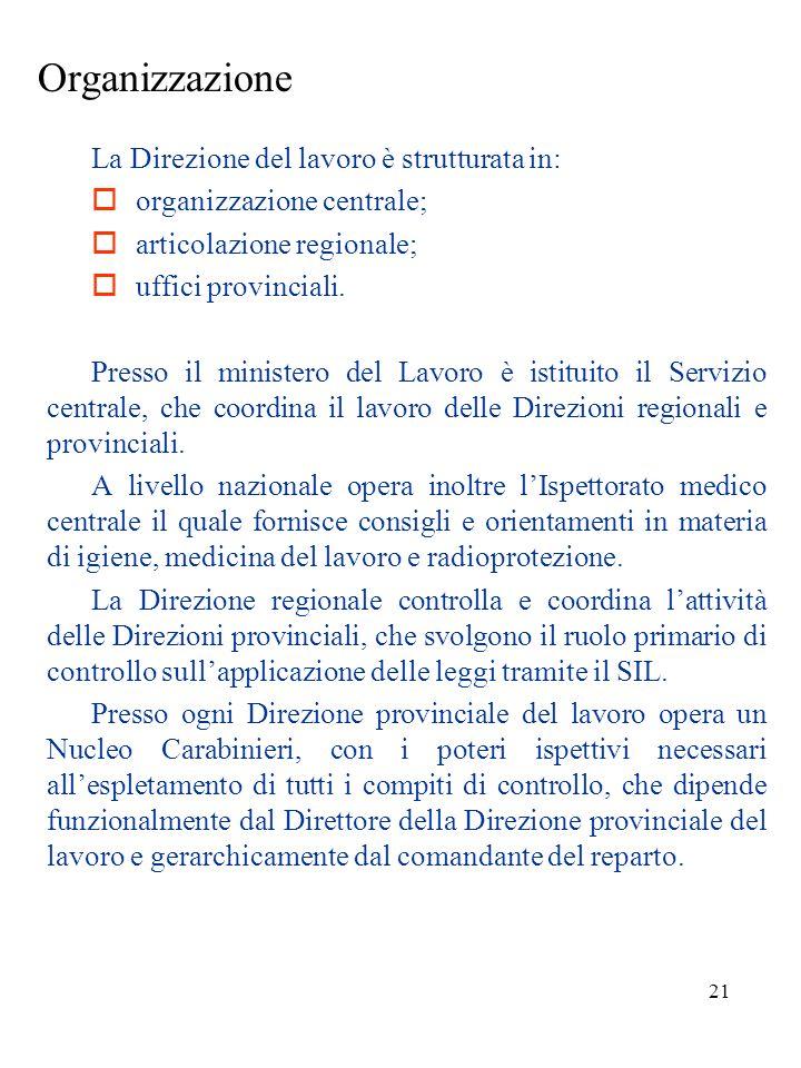 Organizzazione  organizzazione centrale;  articolazione regionale;