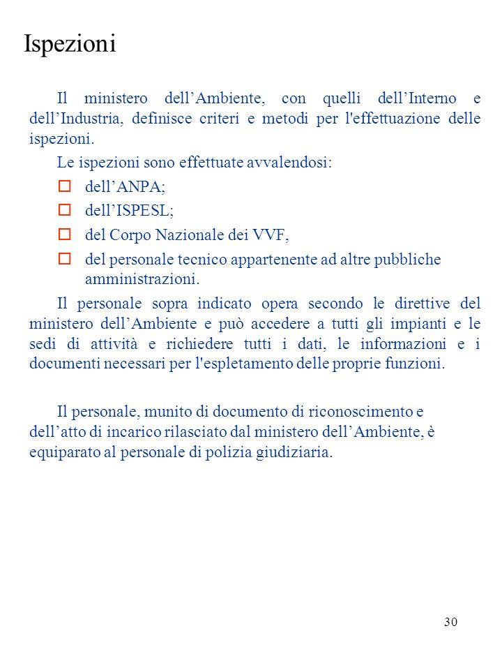 Ispezioni Il ministero dell'Ambiente, con quelli dell'Interno e dell'Industria, definisce criteri e metodi per l effettuazione delle ispezioni.