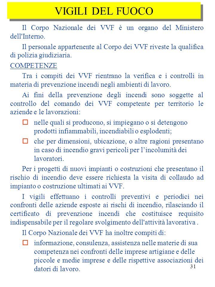 VIGILI DEL FUOCO Il Corpo Nazionale dei VVF è un organo del Ministero dell Interno.