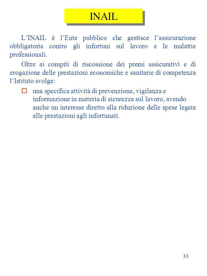 INAIL L'INAIL è l'Ente pubblico che gestisce l'assicurazione obbligatoria contro gli infortuni sul lavoro e le malattie professionali.