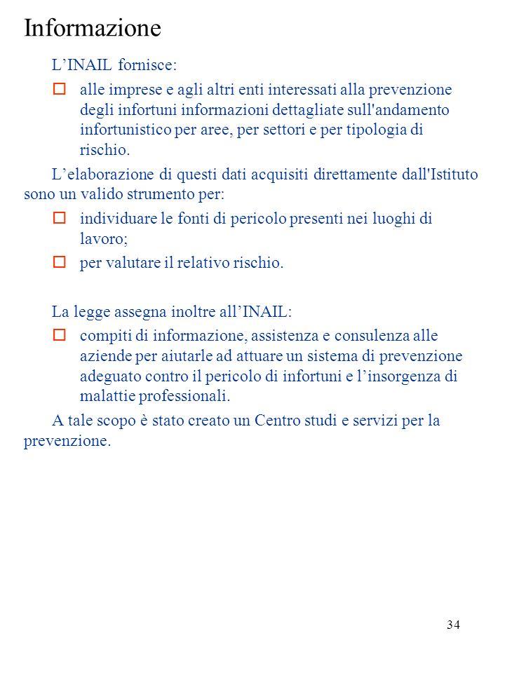 Informazione L'INAIL fornisce: