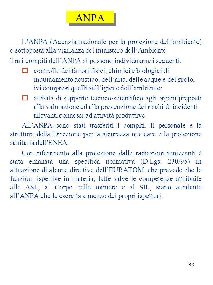 ANPA L'ANPA (Agenzia nazionale per la protezione dell'ambiente) è sottoposta alla vigilanza del ministero dell'Ambiente.