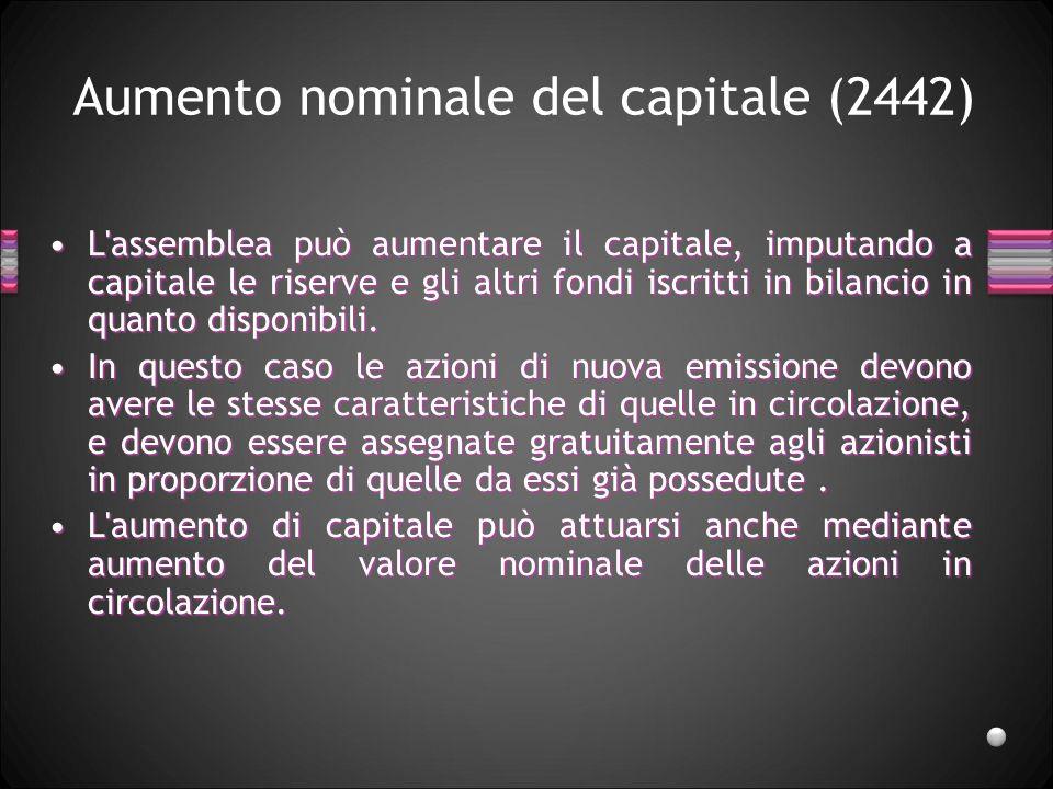 Aumento nominale del capitale (2442)