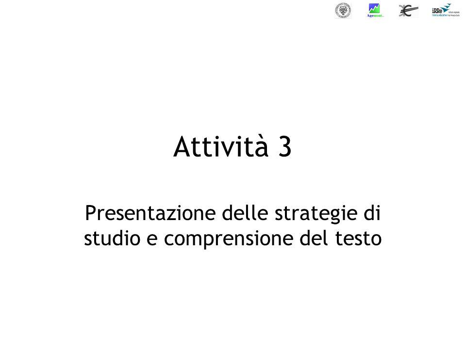 Presentazione delle strategie di studio e comprensione del testo