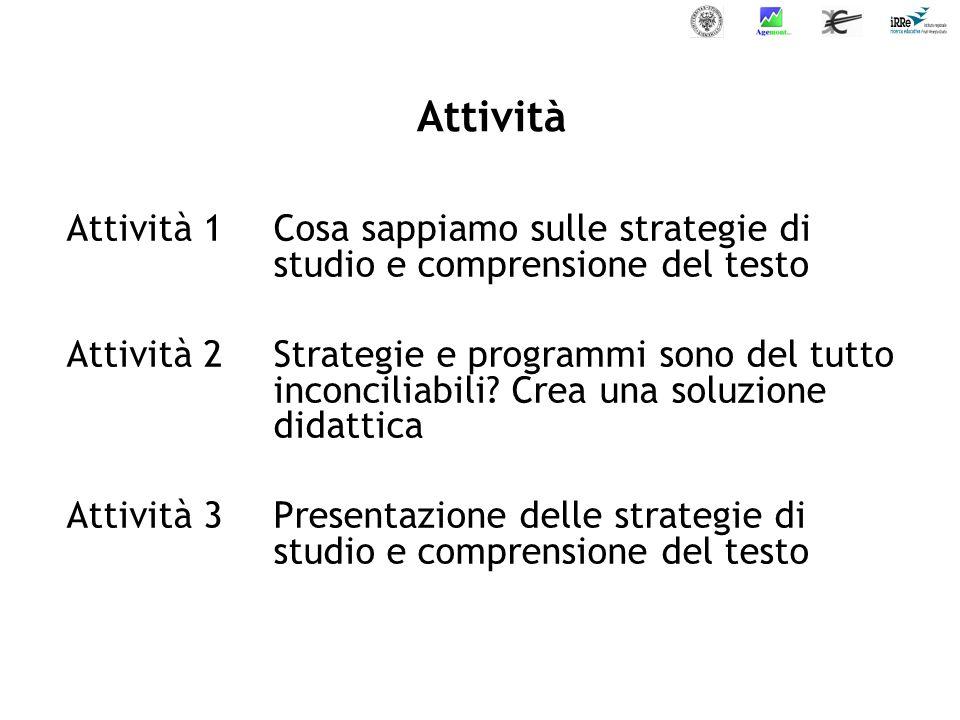 Attività Attività 1 Cosa sappiamo sulle strategie di studio e comprensione del testo.