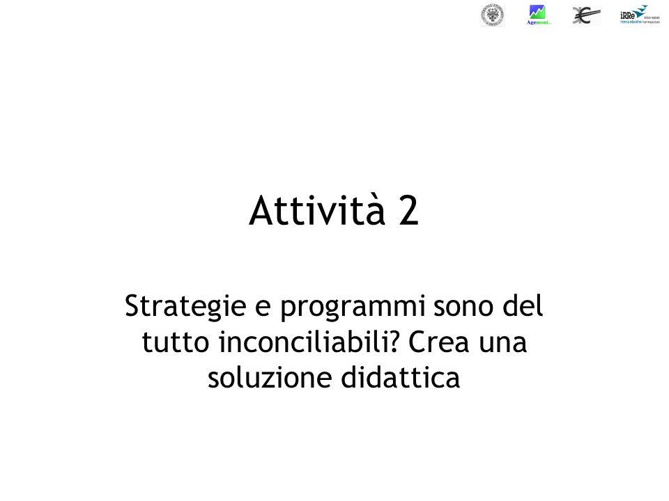 Attività 2 Strategie e programmi sono del tutto inconciliabili Crea una soluzione didattica