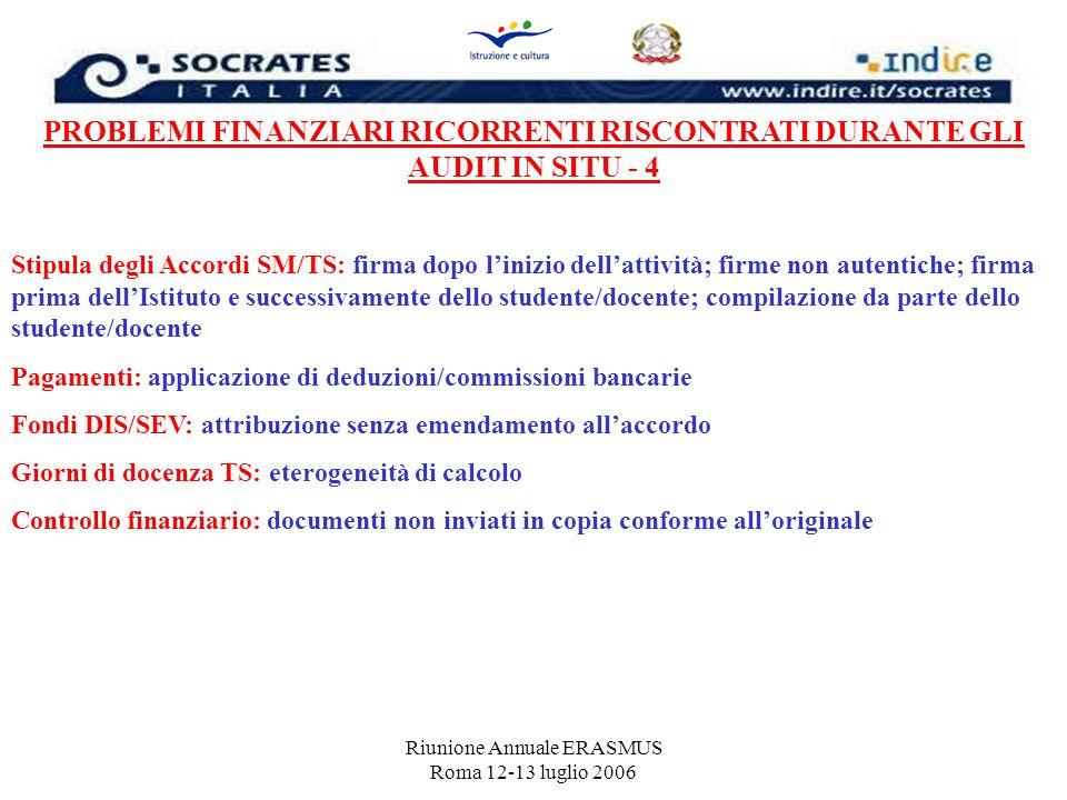 Riunione Annuale ERASMUS Roma 12-13 luglio 2006