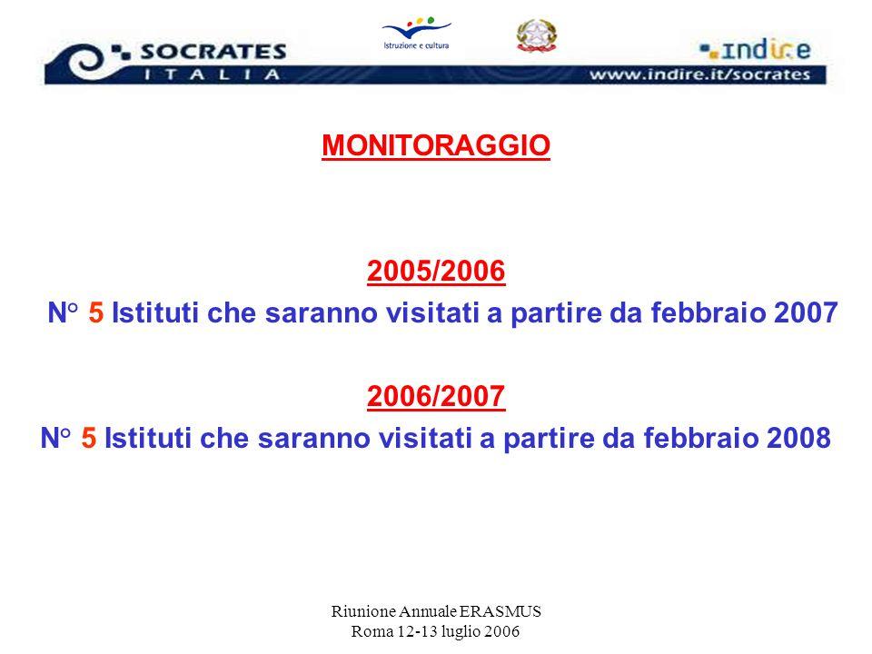 N° 5 Istituti che saranno visitati a partire da febbraio 2007