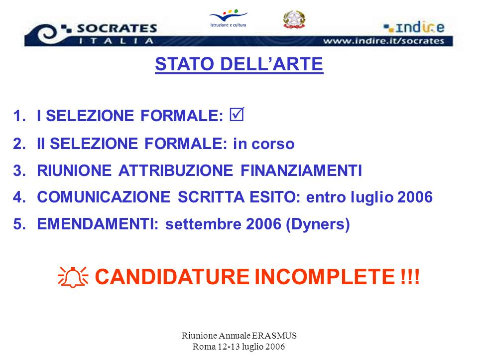  CANDIDATURE INCOMPLETE !!!
