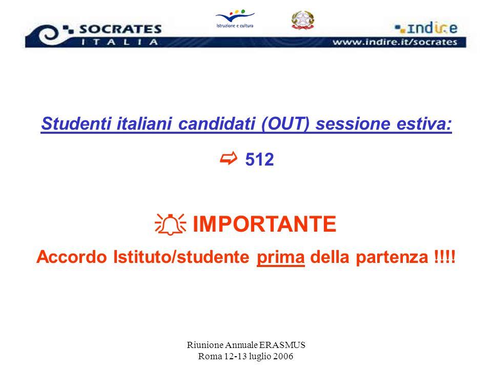  512  IMPORTANTE Studenti italiani candidati (OUT) sessione estiva: