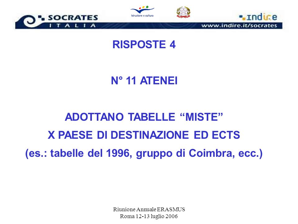 ADOTTANO TABELLE MISTE X PAESE DI DESTINAZIONE ED ECTS