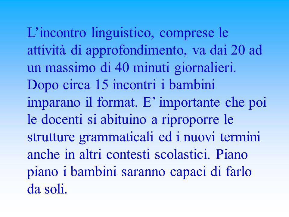 L'incontro linguistico, comprese le attività di approfondimento, va dai 20 ad un massimo di 40 minuti giornalieri.