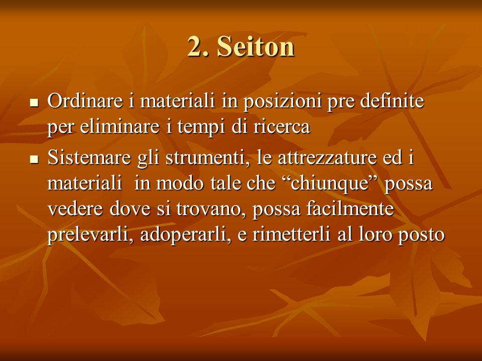2. Seiton Ordinare i materiali in posizioni pre definite per eliminare i tempi di ricerca.