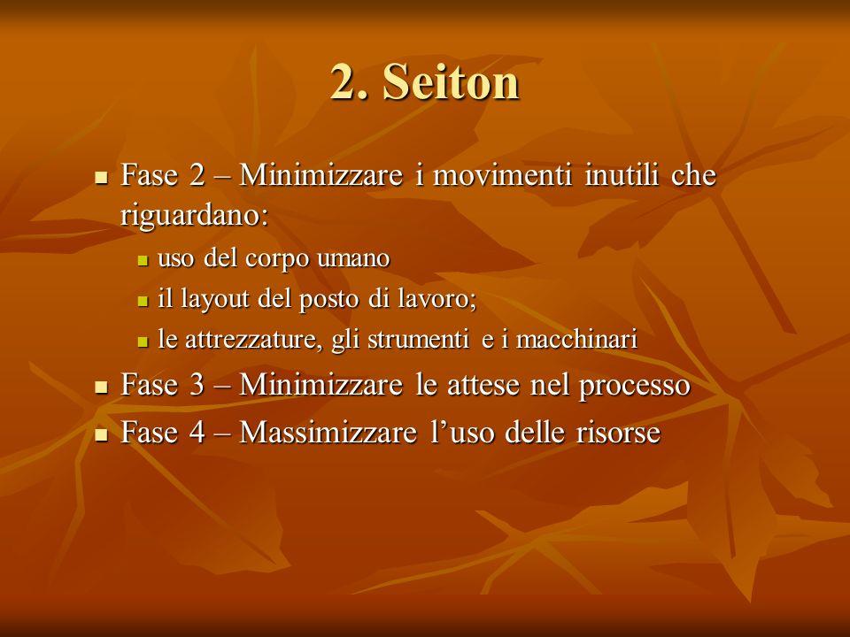 2. Seiton Fase 2 – Minimizzare i movimenti inutili che riguardano: