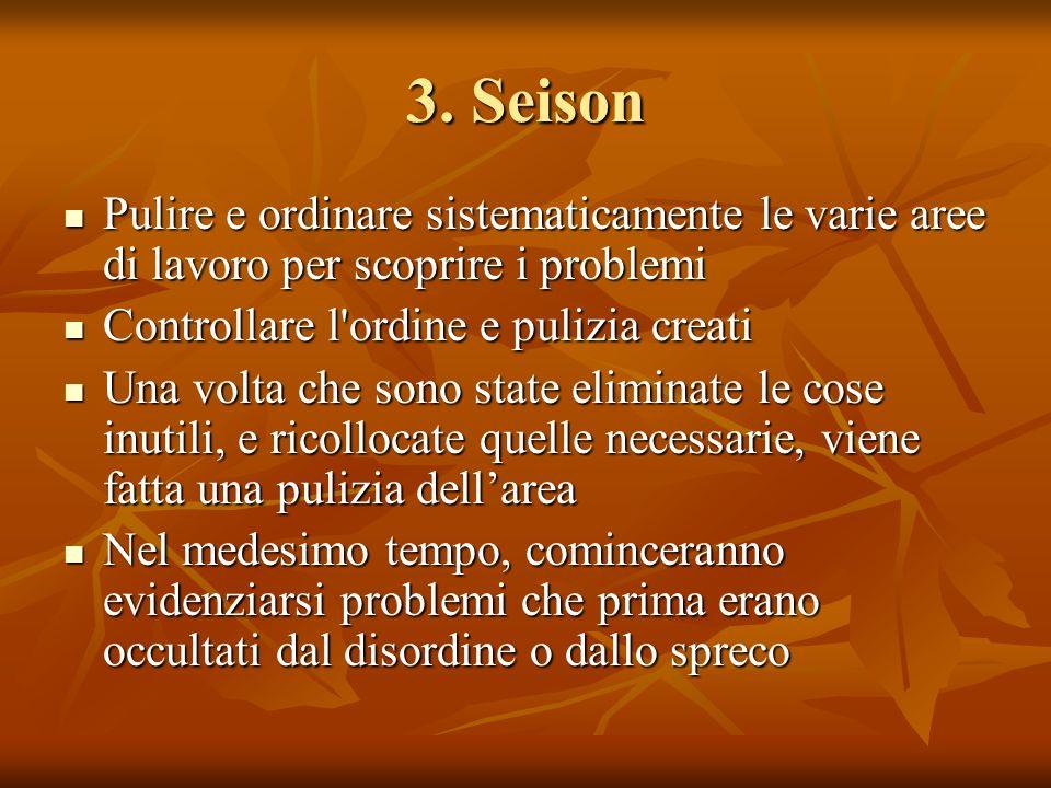 3. Seison Pulire e ordinare sistematicamente le varie aree di lavoro per scoprire i problemi. Controllare l ordine e pulizia creati.