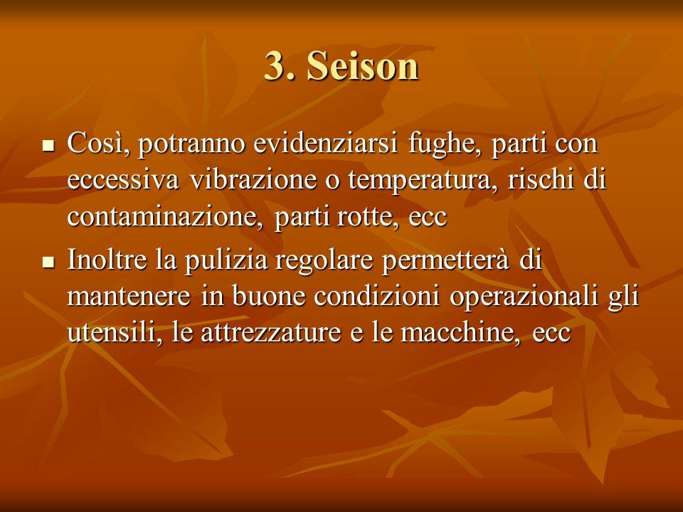 3. Seison Così, potranno evidenziarsi fughe, parti con eccessiva vibrazione o temperatura, rischi di contaminazione, parti rotte, ecc.