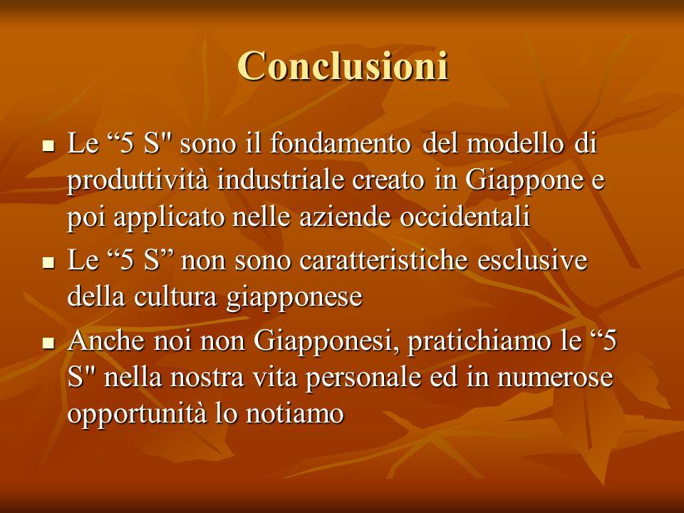Conclusioni Le 5 S sono il fondamento del modello di produttività industriale creato in Giappone e poi applicato nelle aziende occidentali.
