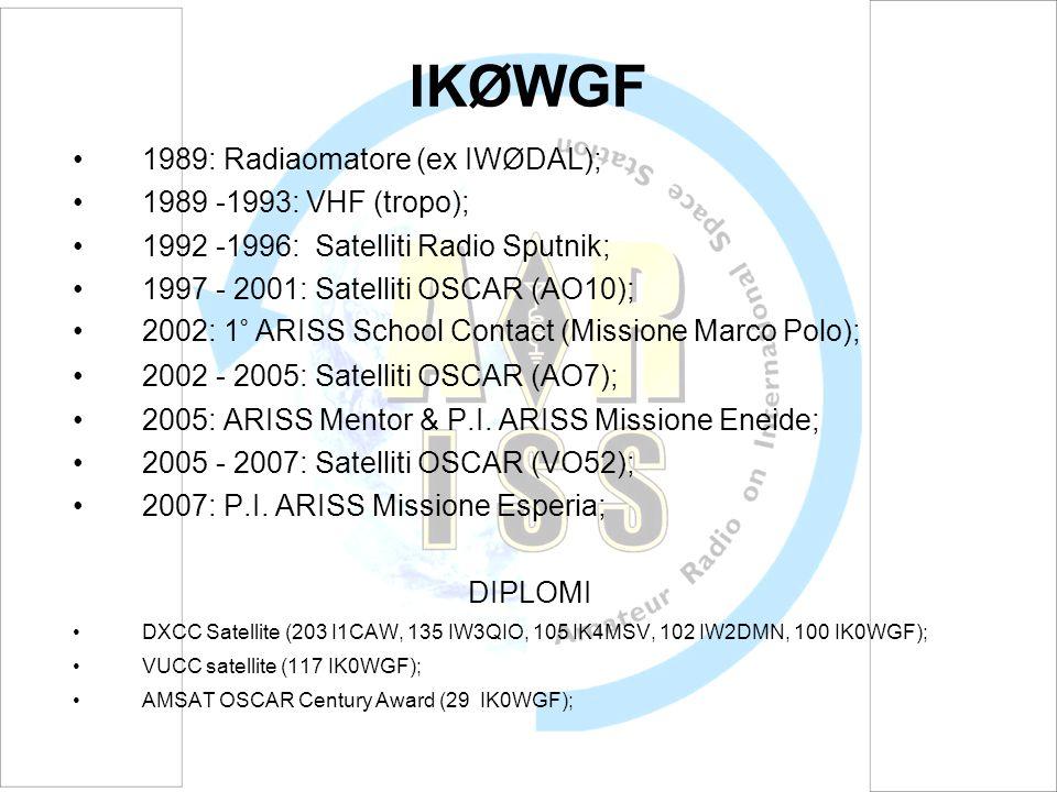 IKØWGF 1989: Radiaomatore (ex IWØDAL); 1989 -1993: VHF (tropo);