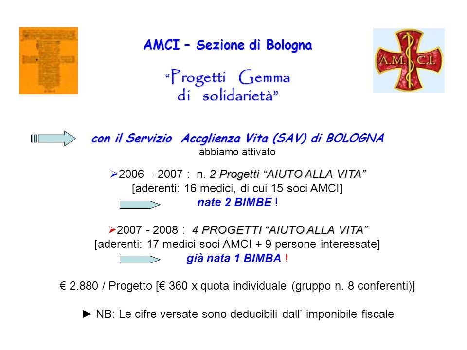 AMCI – Sezione di Bologna Progetti Gemma di solidarietà