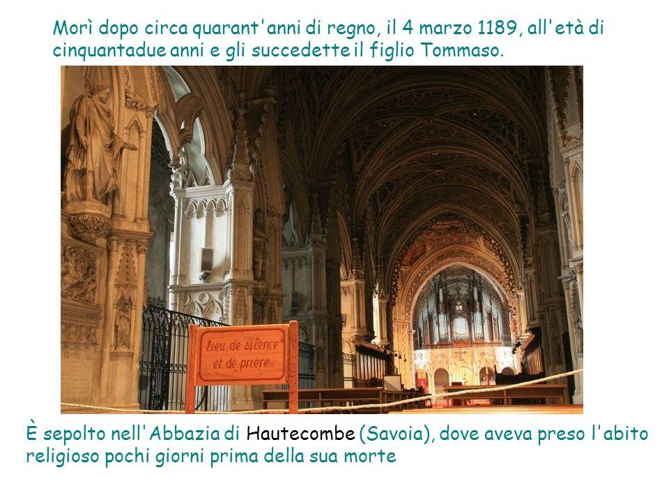 Morì dopo circa quarant anni di regno, il 4 marzo 1189, all età di cinquantadue anni e gli succedette il figlio Tommaso.