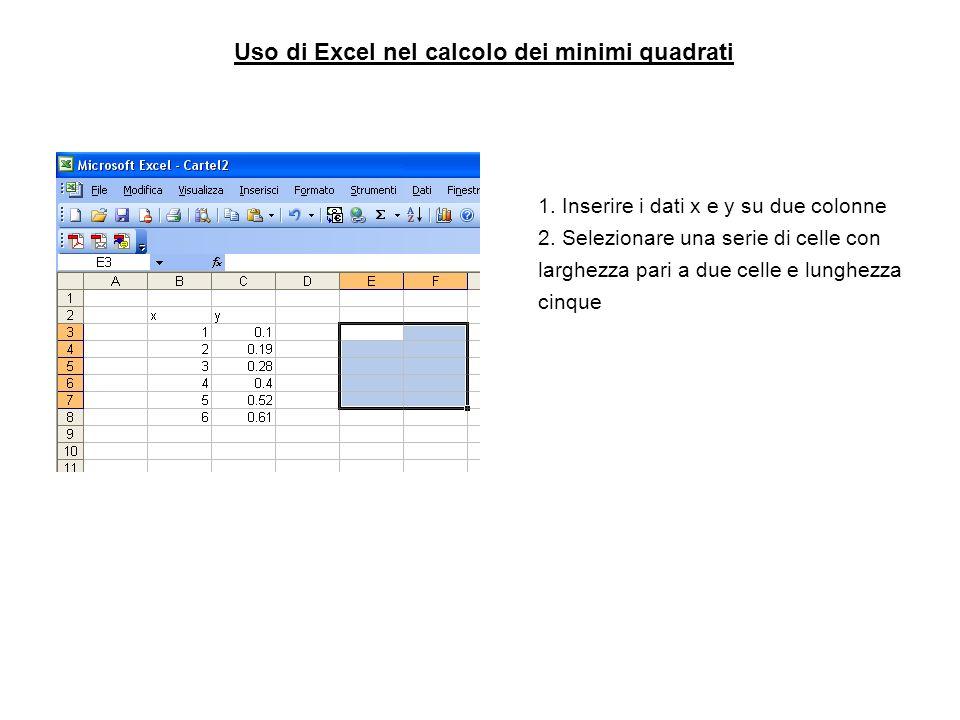 Uso di Excel nel calcolo dei minimi quadrati