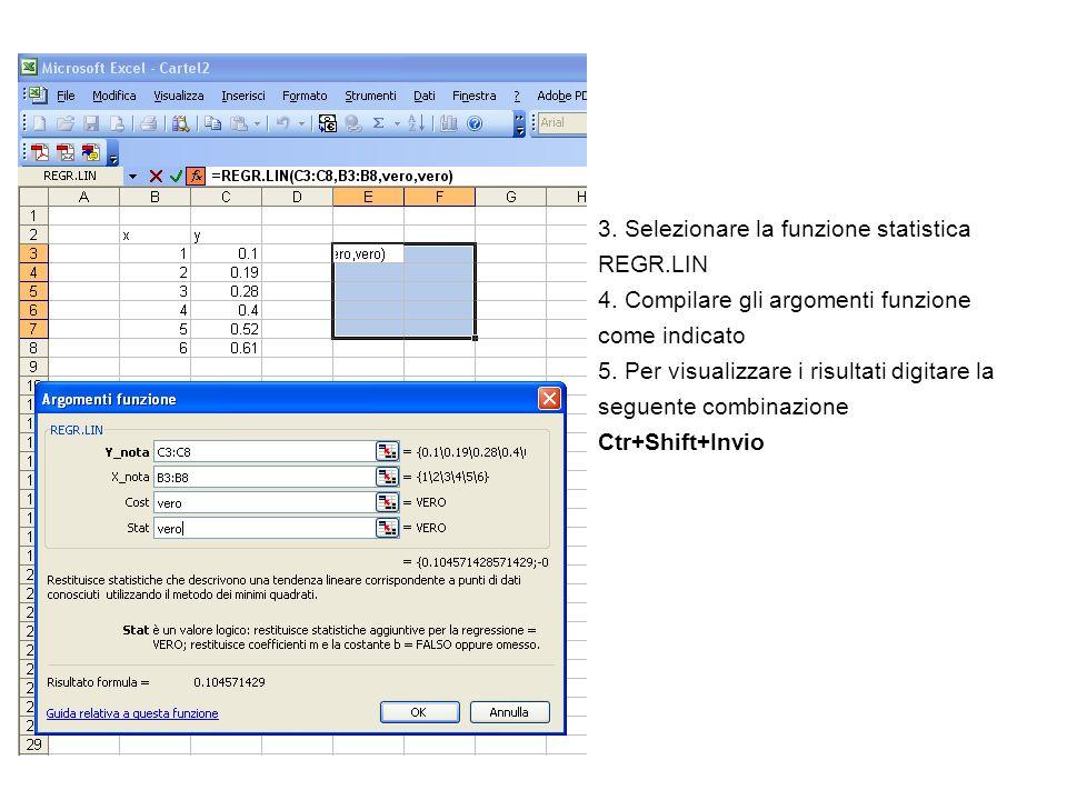 3. Selezionare la funzione statistica REGR.LIN