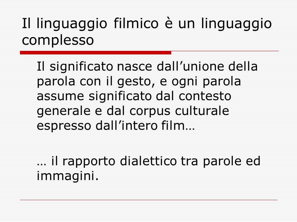 Il linguaggio filmico è un linguaggio complesso