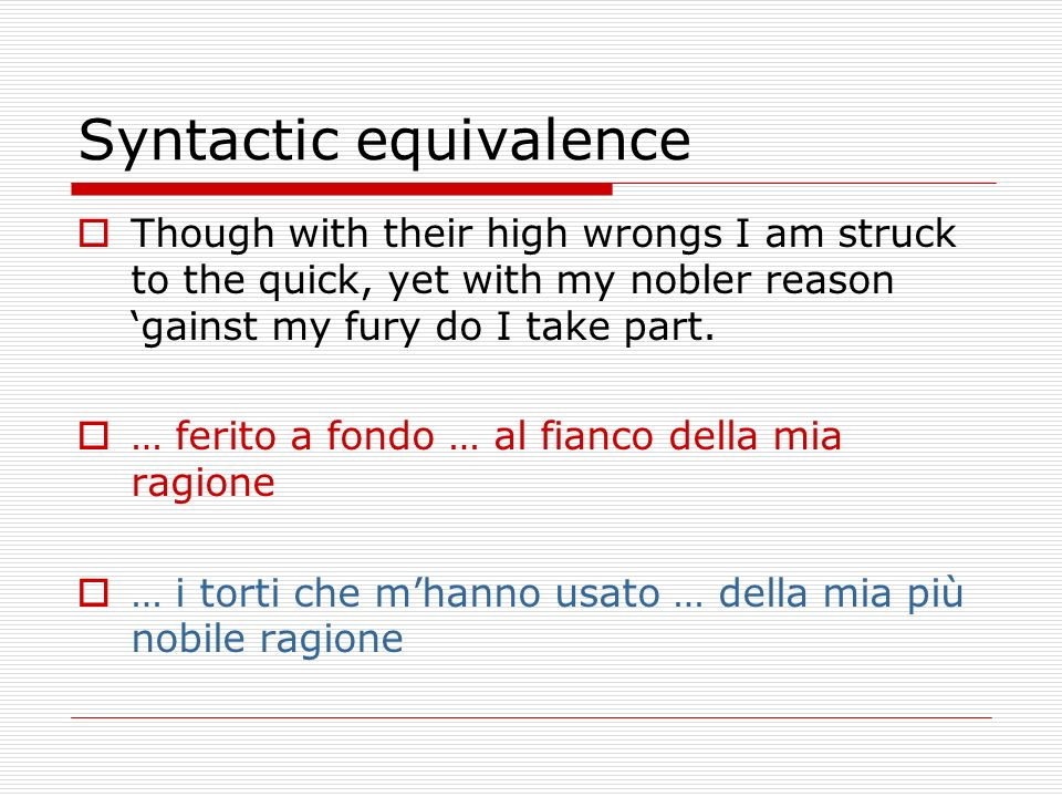 Syntactic equivalence