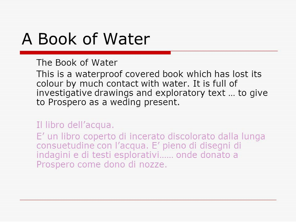 A Book of Water The Book of Water