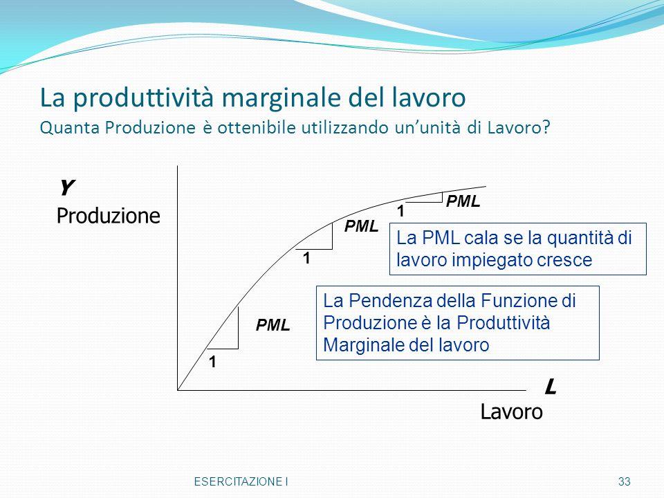 La produttività marginale del lavoro Quanta Produzione è ottenibile utilizzando un'unità di Lavoro
