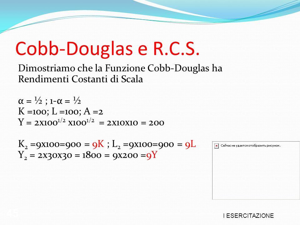 Cobb-Douglas e R.C.S. 45 Dimostriamo che la Funzione Cobb-Douglas ha