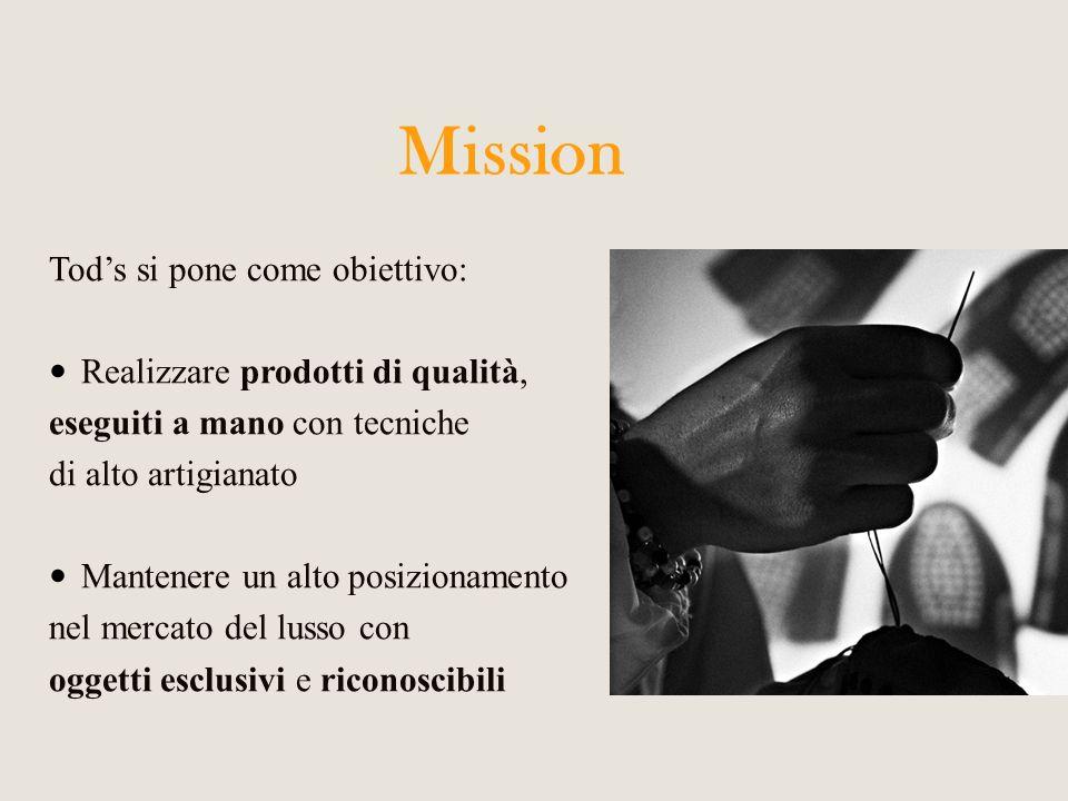 Mission Tod's si pone come obiettivo: Realizzare prodotti di qualità,