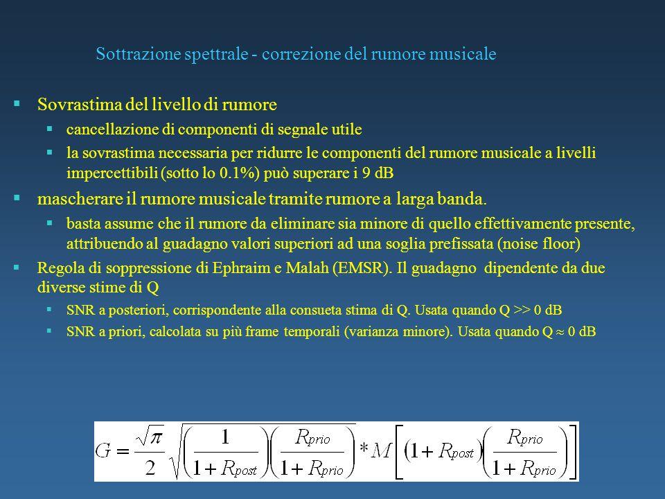 Sottrazione spettrale - correzione del rumore musicale